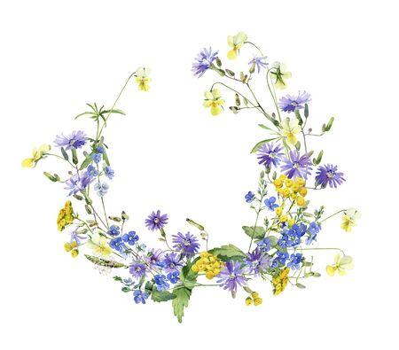 Couronne de fleurs sauvages bleues et jaunes à l'aquarelle Banque d'images