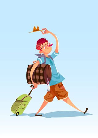 funy: Funy guy with a lot of bags. illustration