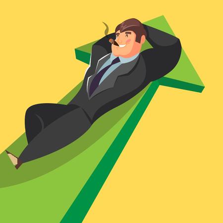 lie down: Businessman lie down on the diagram. Illustration