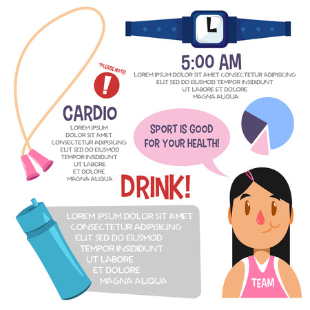 active content: Sport infographic for women. Illustration