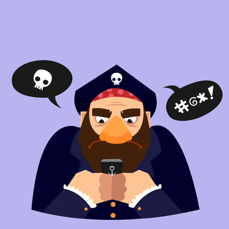 Funny vector illustration. Character texting