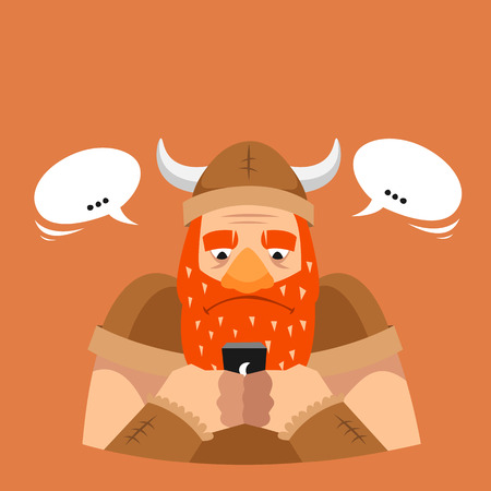 Funny vector illustration. Viking with phone