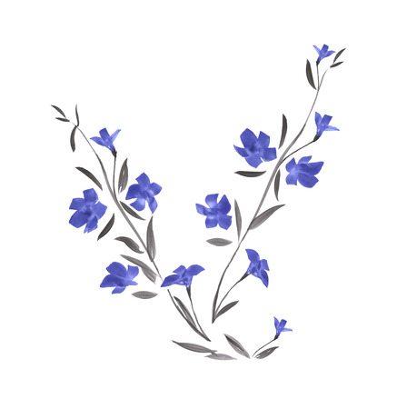 Branch of wild blue flower. Watercolor painting Stock Photo