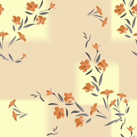 Seamless pattern of orange flowers on a beige background with geometric yellow tracery. Watercolor