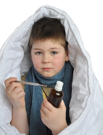rubella: Sick boy with a medicine and a thermometer isolated on white background Stock Photo