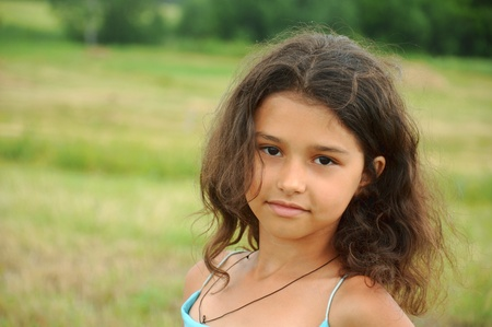 8 years old: Portrait of a beautiful girl with long hair Stock Photo