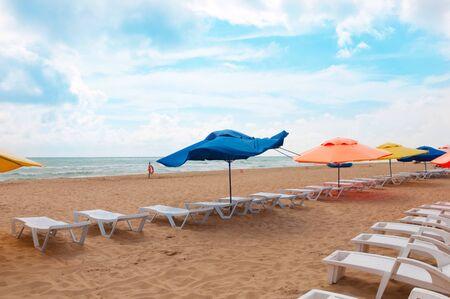 The beach in Anapa on the Black Sea, Russia