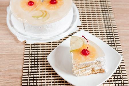 Eine Kostliche Kalorienarme Kuchen Mit Sahne Lizenzfreie Fotos