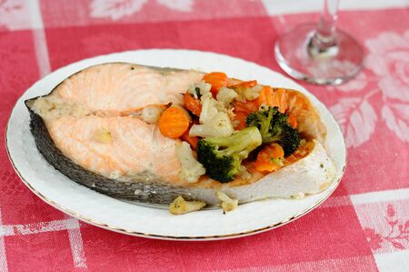 Delicious salmon with vegetables photo