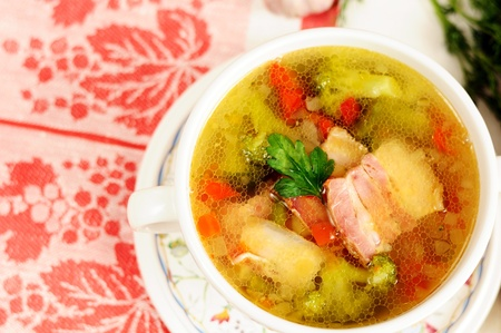 Italian soup with vegetables and bacon Stock Photo - 12988737