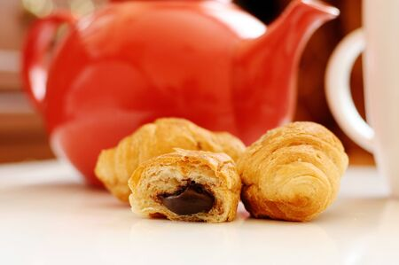 Mini croissants with chocolate filling Stock Photo - 13058442