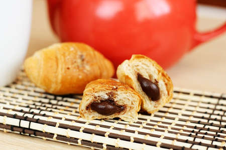 Mini croissants with chocolate filling Stock Photo - 13058439