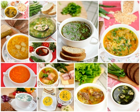 Tasty homemade soups, collage Stock Photo
