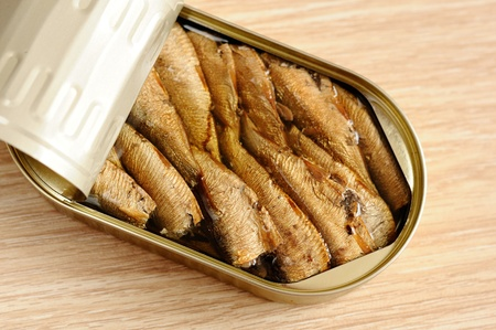 sprats: Appetizing sprats in a tin Stock Photo