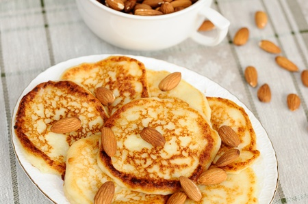 Delicious homemade pancakes with almonds