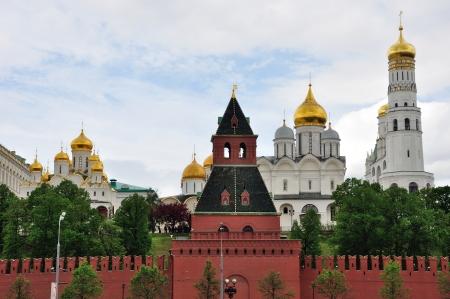Churches the Moscow Kremlin and Taynitskaya tower, Russia photo