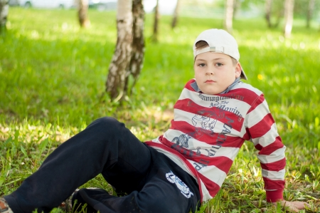 The Boy in the birch forest Stock Photo - 13865380