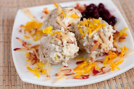 Meatballs with cranberry sauce photo