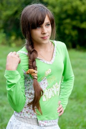 Teen girl on nature