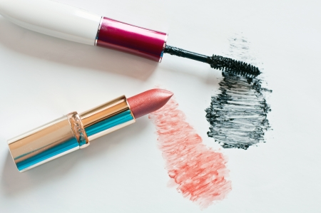 Feminine cosmetics on a light background photo