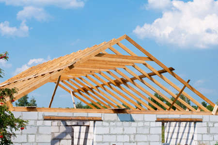 rafters: house under construction Stock Photo