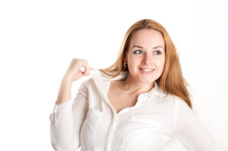 believable: woman on a light background