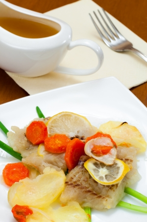 cod fish: Cod baked with vegetables