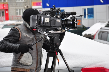 A professional videographer at work