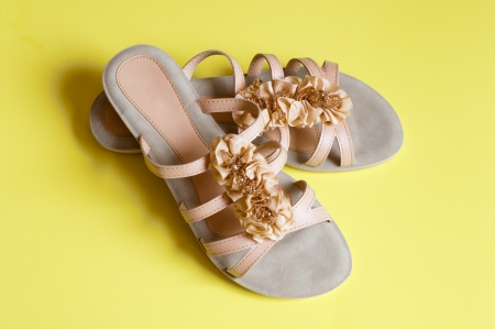 Ladies beige sandals low heels Stock Photo - 18626881