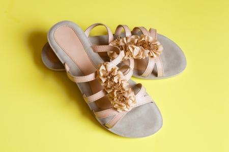 Ladies beige sandals low heels Stock Photo - 18626881