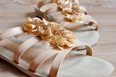 Ladies beige sandals low heels Stock Photo - 18626884