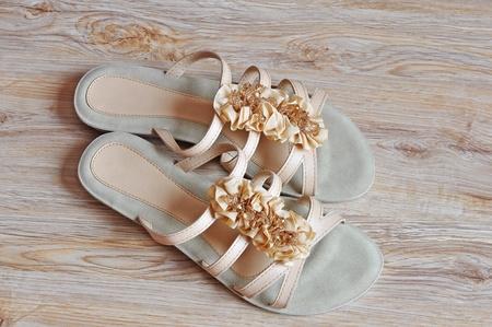 Ladies beige sandals low heels photo