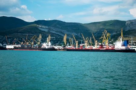 Cargo port at Novorossiysk. Russia Stock Photo