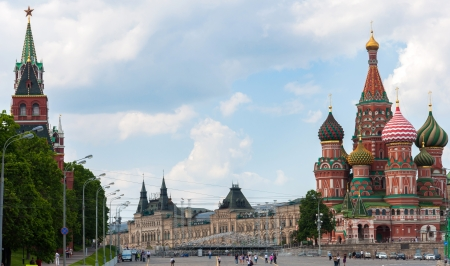 St. Basil's Cathedral and the Kremlin in Moscow, Russia
