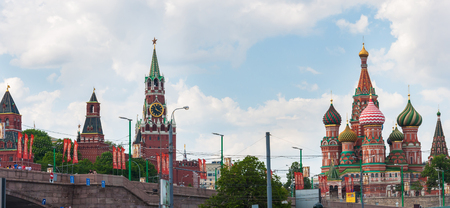 cupolas: St. Basils Cathedral and the Kremlin in Moscow, Russia  Stock Photo