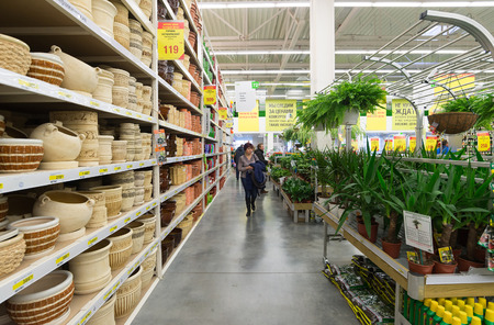 merlin: MOSCOW, RUSSIA - FEBRUARY 15, 201: Interior of  Leroy Merlin Store. Leroy Merlin is a French home-improvement and gardening retailer serving thirteen countries