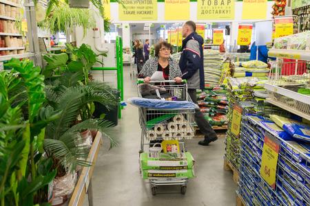 mago merlin: MOSC�, RUSIA - 15 DE FEBRERO, 201: Interior de la tienda Leroy Merlin. Leroy Merlin es un minorista de mejoramiento del hogar y jardiner�a franc�s que sirve trece pa�ses