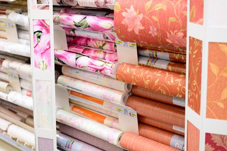 merlin: MOSCOW, RUSSIA - FEBRUARY 15, 201: roll of a wallpaper in Leroy Merlin Store. Leroy Merlin is a French home-improvement and gardening retailer serving thirteen countries