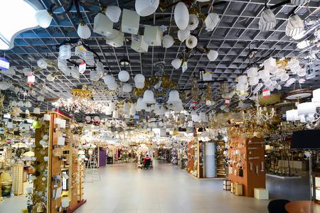 electrolier: Many beautiful chandeliers in a light store