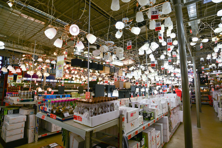 retail chain: Moscow, Russia - March 5, 2015: Chandeliers in chain stores OBI. German retail chain stores of construction and household goods belonging to the company OBI GmbH and Co.