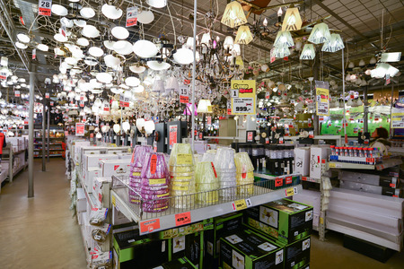 household goods: Moscow, Russia - March 5, 2015: Chandeliers in chain stores OBI. German retail chain stores of construction and household goods belonging to the company OBI GmbH and Co.