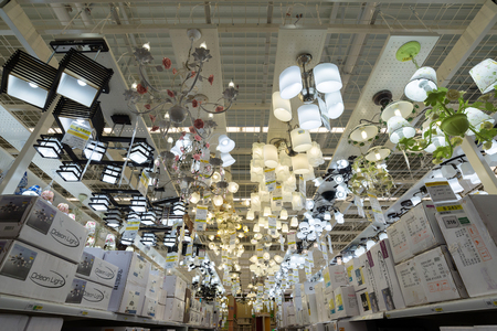 electrolier: MOSCOW, RUSSIA - March 3, 2015: Chandeliers of the Leroy Merlin Store. Leroy Merlin is a French home-improvement and gardening retailer serving thirteen countries