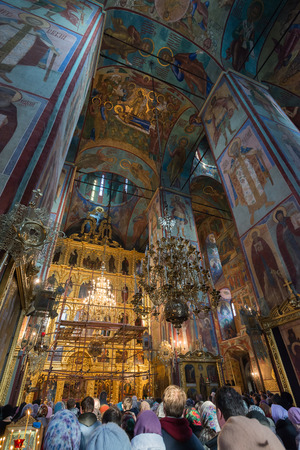 ortodox: Moscow, Russia March 28, 2015. Russian ortodox church at the Trinity-Sergius Lavra ,build in 1585. Sergiev Posad, Moscow district, Russia. Dormition Cathedral Editorial
