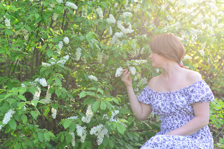 denuded: An adult woman near blossoming bird cherry in the park Stock Photo