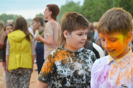 MOSCOW, RUSSIA - MAY 23, 2015: Festival of colors Holi in  Luzhniki Stadium. Roots of this fest are in India, where it called Holi Fest. Now russian people celebrate it too.