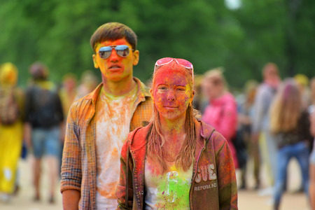 asian preteen: MOSCOW, RUSSIA - MAY 23, 2015: Festival of colors Holi in  Luzhniki Stadium. Roots of this fest are in India, where it called Holi Fest. Now russian people celebrate it too.