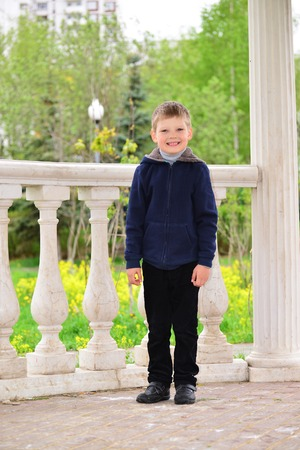 six year old: A six year old boy on a walk Stock Photo