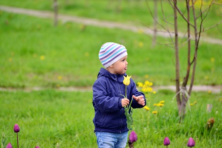 two year old: Two year old girl on a walk in the park