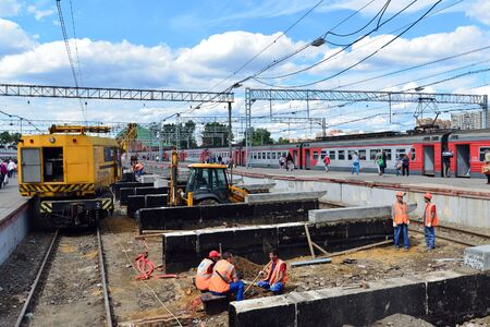 reconstruction: MOSCOW, RUSSIA - 17.06.2015. Reconstruction of the railway at the Leningrad station.