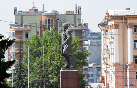 lenin: Lipetsk, RUSSIA - 05.08.2015. a Cathedral Square whith Monument to Lenin